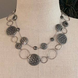 Double Layer Pewter Designer Necklace